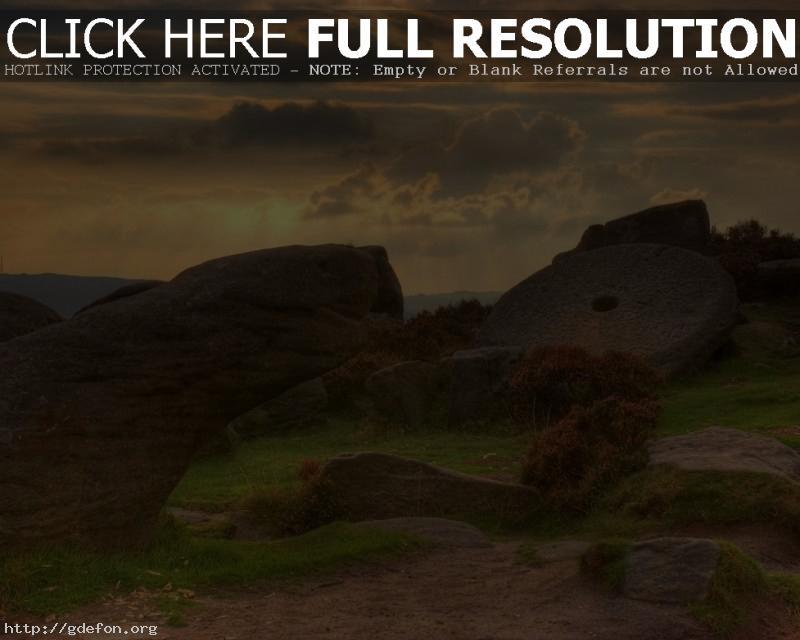 Обои Камни, облака, закат фото картики заставки