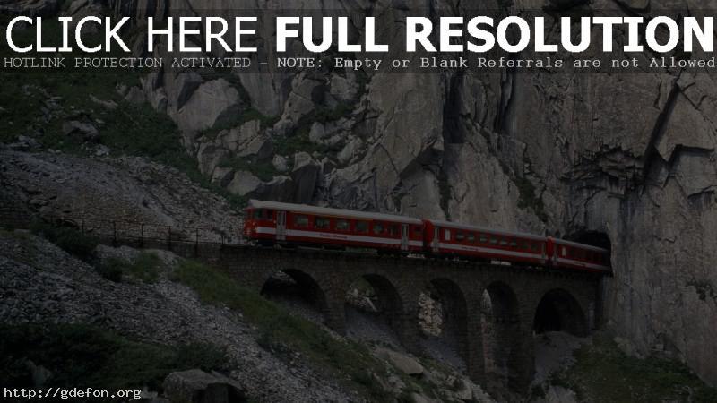 Обои Швейцария, Железная дорог, мост, тунель фото картики заставки