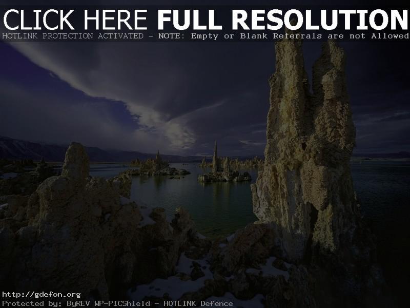 Обои Скалы, море, снег фото картики заставки