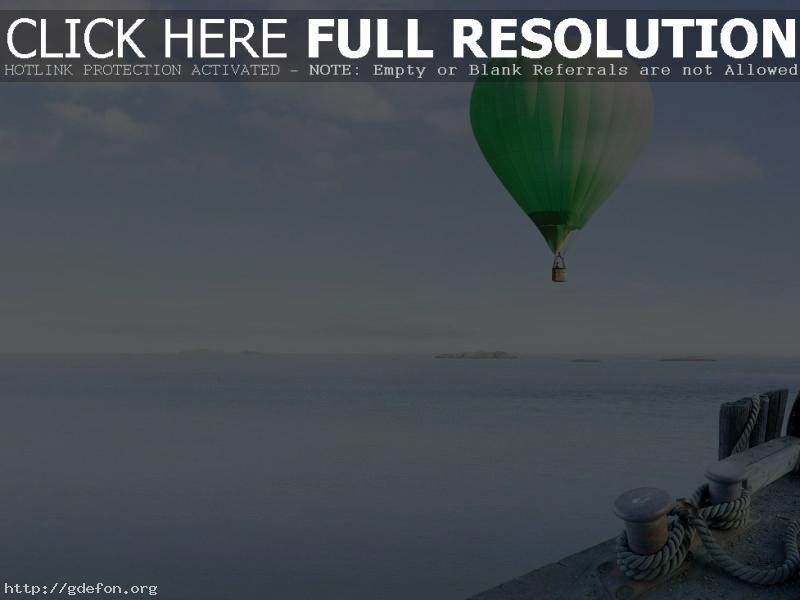 Обои Воздушный шар над море фото картики заставки