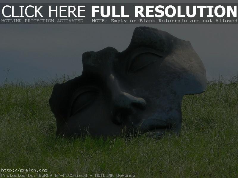 Обои Трава, лицо, памятник фото картики заставки