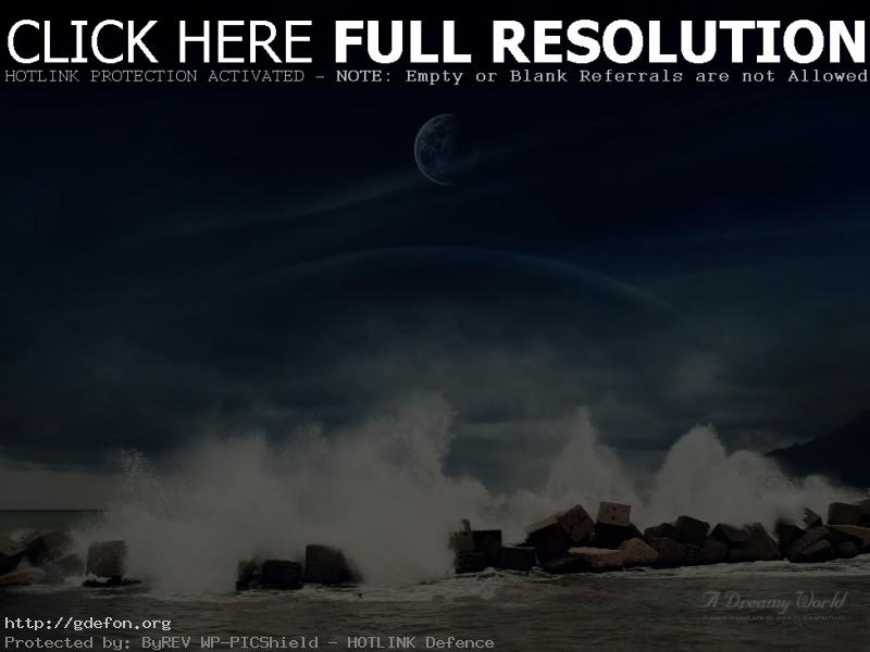 Обои море, камни, вода, луна фото картики заставки