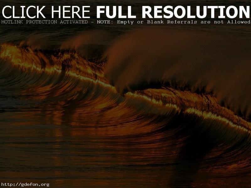 Обои Волна, закат, море, вода фото картики заставки