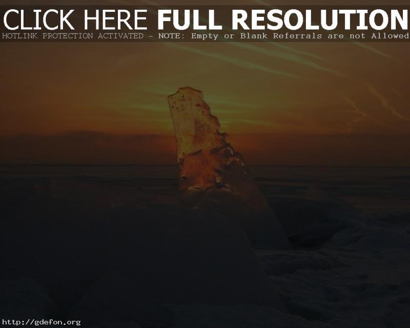 Обои Лед, закат, прозрачный, снег фото картики заставки
