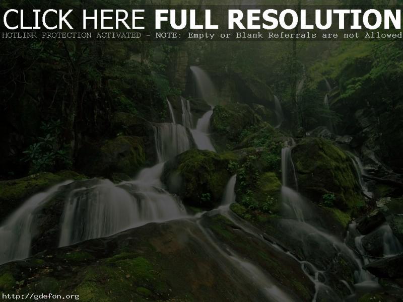Обои Водопад, камни, деревья, лес фото картики заставки