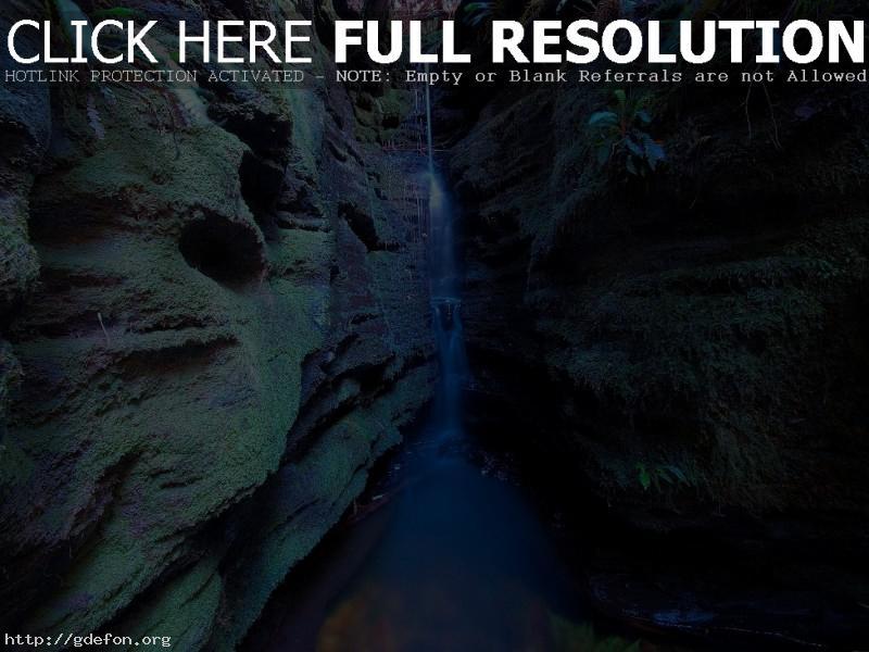 Обои Ущелье, водопад, ручей фото картики заставки