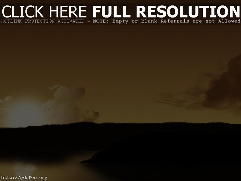 Обои Солнце, птицы, облака фото картики заставки