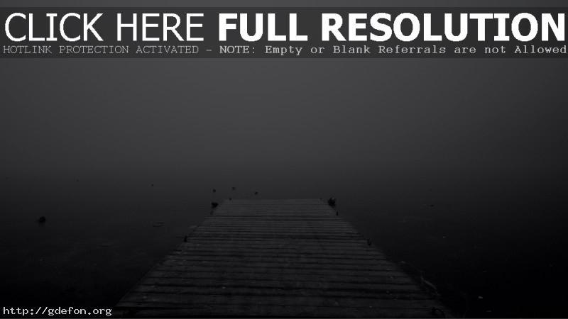Обои Вода, пирс, туман, озеро фото картики заставки