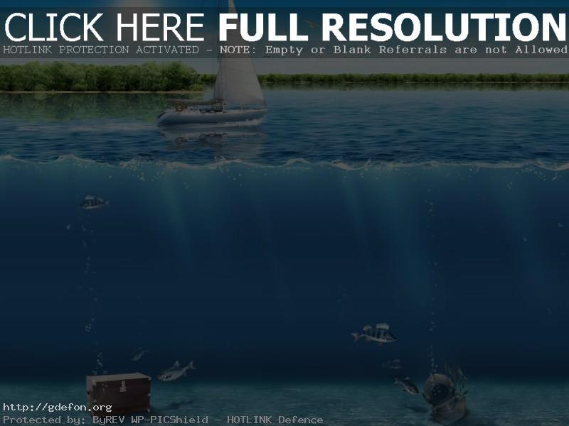 Обои Вода, дно, лодка, сундук фото картики заставки