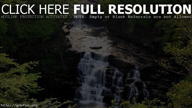 Обои Водопад, лес, скалы, пороги фото картики заставки