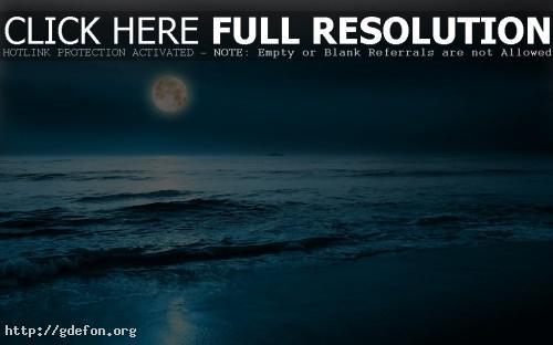 Обои Луна, море, корабль фото картики заставки