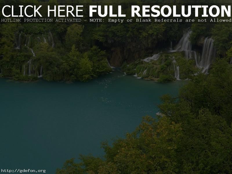 Обои озеро, вода, водопады, деревья фото картики заставки