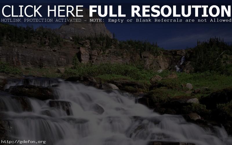 Обои Водопад, горы, деревья фото картики заставки