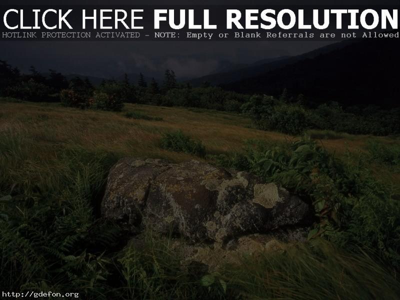 Обои Камень, трава, буря, склон фото картики заставки