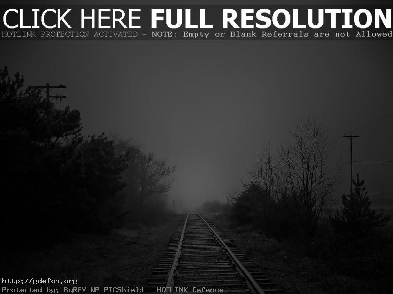 Обои железная дорога, туман, черно-белое фото картики заставки