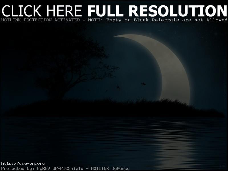 Обои Луна, вода, ночь, остров фото картики заставки