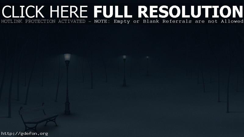 Обои Зима, ночь, фонари, снег фото картики заставки