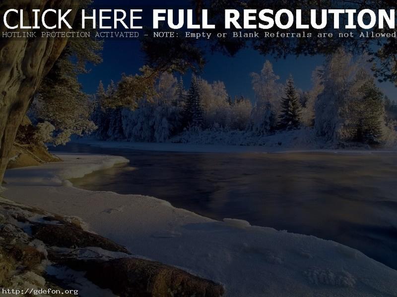 Обои Зима, лед, река фото картики заставки