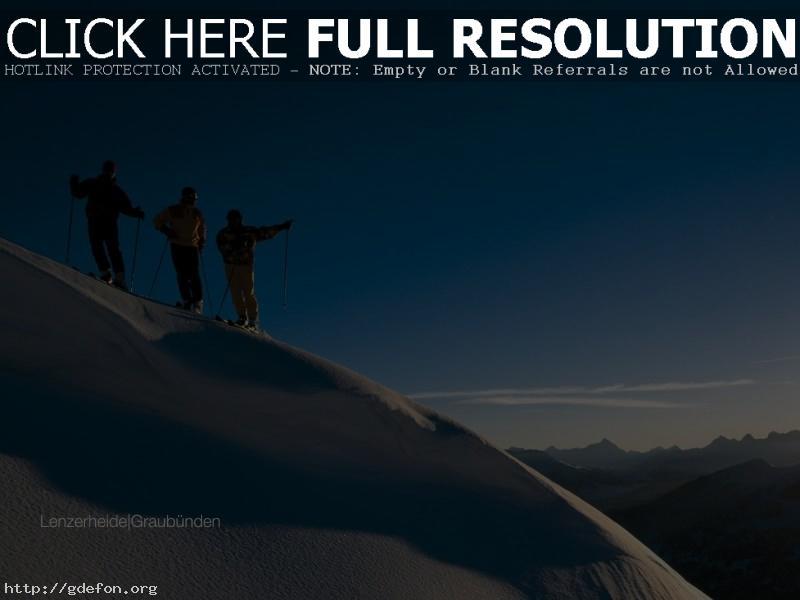 Обои Лыжники, горы, снег фото картики заставки