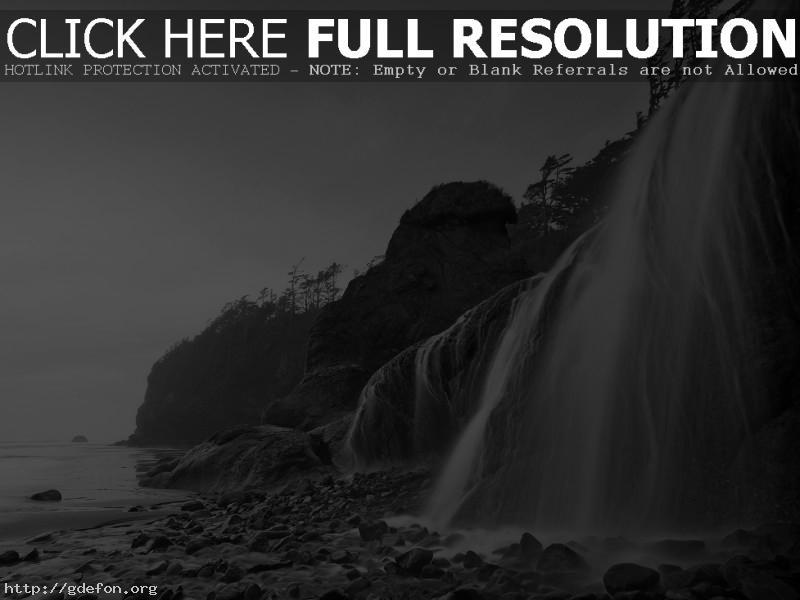 Обои берег, море, водопад фото картики заставки