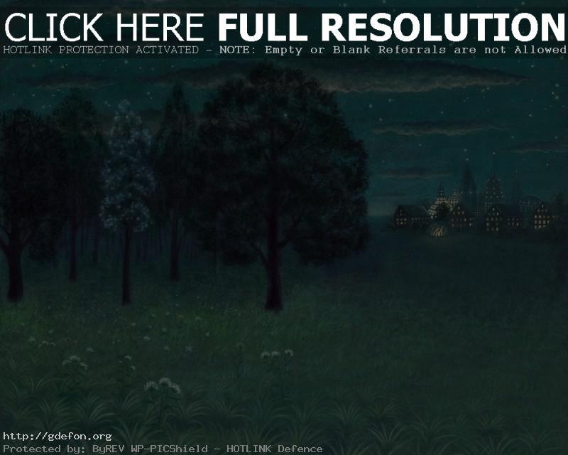Обои Деревья, город, огни, рисунок фото картики заставки