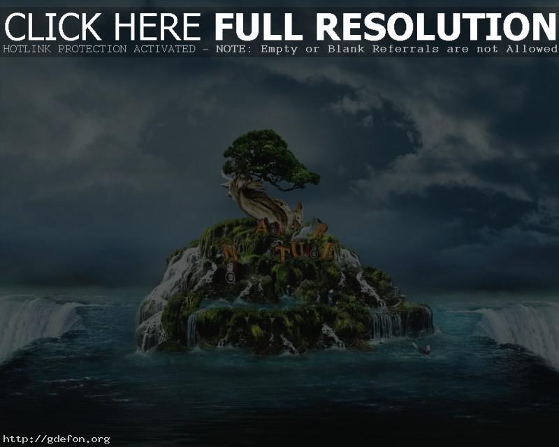 Обои Остров, водопад, дерево фото картики заставки