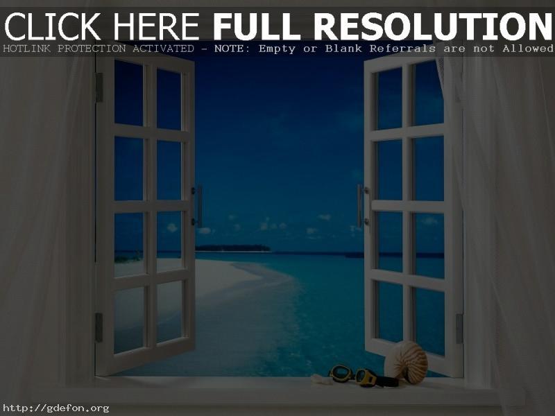 Обои Тропики, бриз, окно фото картики заставки