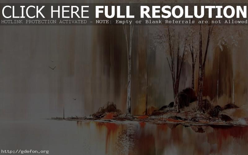 Обои Рисунок, деревья, масло фото картики заставки
