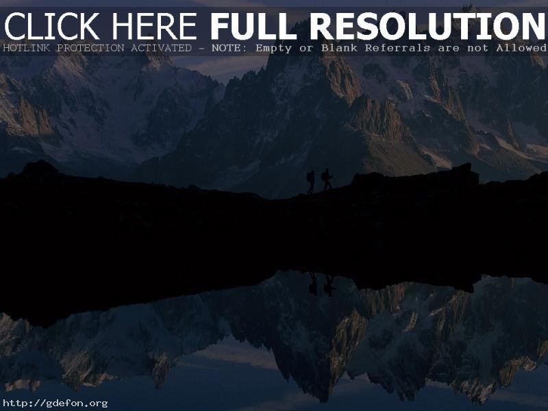 Обои Горы, озеро, отражение фото картики заставки