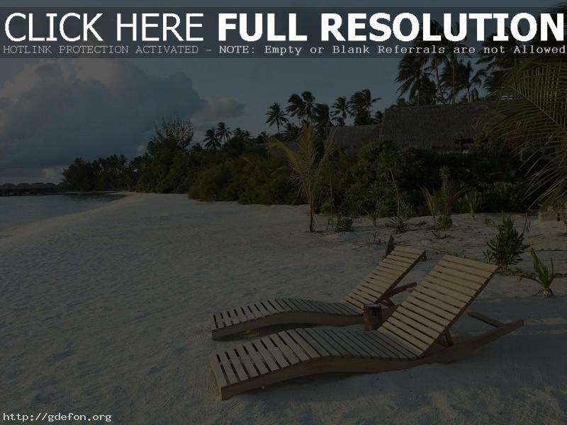 Обои Пляж, песок, шезлонги фото картики заставки