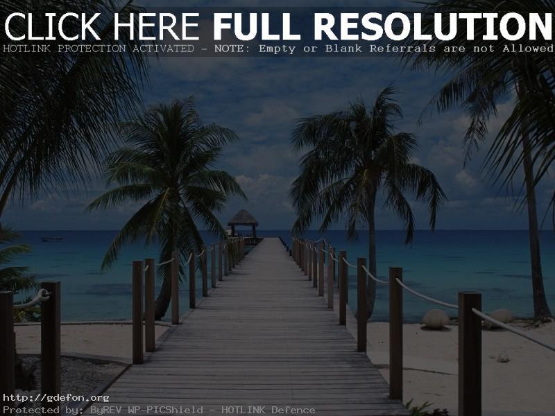 Обои Полинезия, пирс, берег, пальмы фото картики заставки