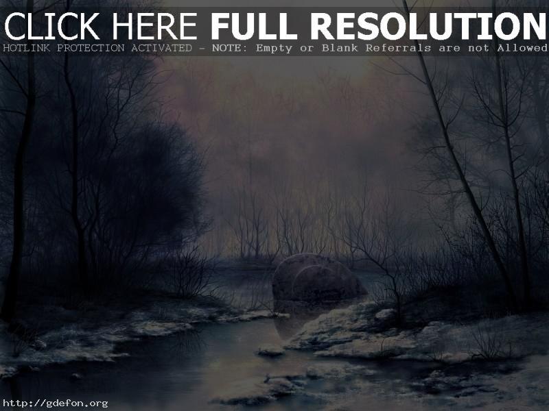 Обои Рисунок, болото, снег, туман фото картики заставки