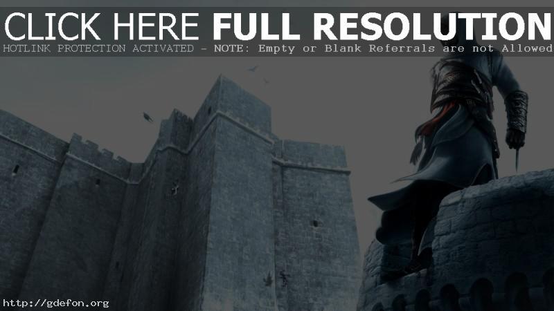 Обои Ассасин на вершине крепости фото картики заставки