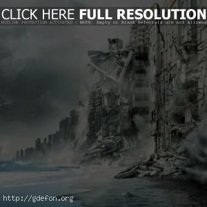 Начало, inception, город, побережье, море, разруше