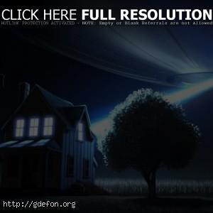 НЛО, дерево, тарелка, дом, ночь, свет