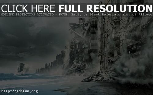 Обои Начало, inception, город, побережье, море, разруше фото картики заставки