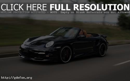 Обои Porsche 911 Turbo Cabriolet на скорости фото картики заставки