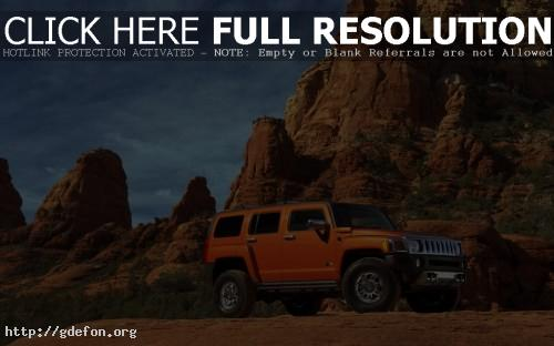Обои Hummer H3 оранжевый на скалах фото картики заставки