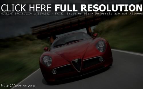 Обои Красный Alfa Romeo 8C Competizione фото картики заставки