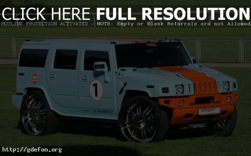 Обои Hummer H2 голубой, на траве фото картики заставки