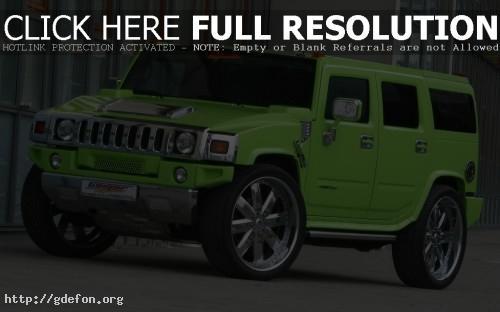 Обои Зелёный Hummer H2 фото картики заставки