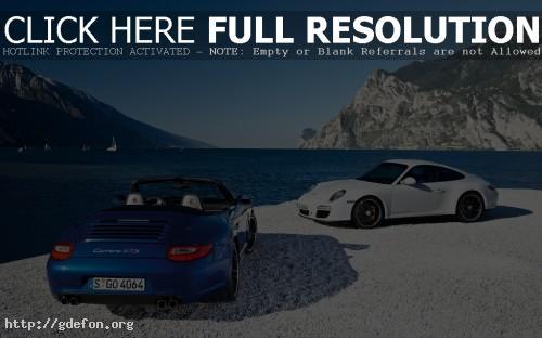 Обои Белый и синий Porsche 911 Carrera GTS фото картики заставки