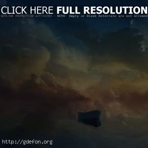 Небо, луна, лодка, облака, солнце