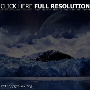 луна, снег, холод