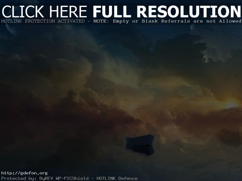Обои Небо, луна, лодка, облака, солнце фото картики заставки