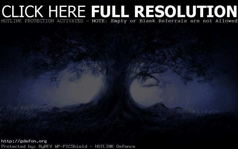 Обои Дерево, рисунок, ночь, свет, луна фото картики заставки