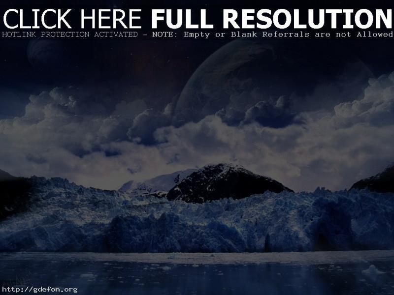 Обои луна, снег, холод фото картики заставки