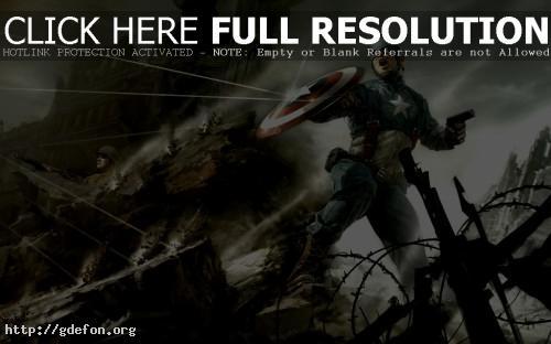 Обои Капитан Америка на баррикадах фото картики заставки