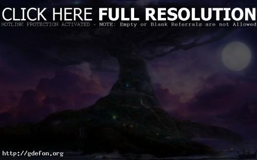 Обои Древо прародитель под луной фото картики заставки