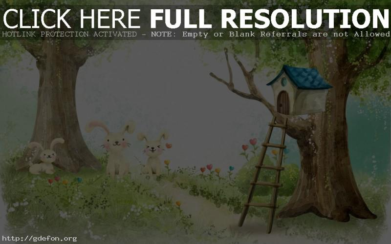 Обои Рисунок, домик, лес, зайцы фото картики заставки